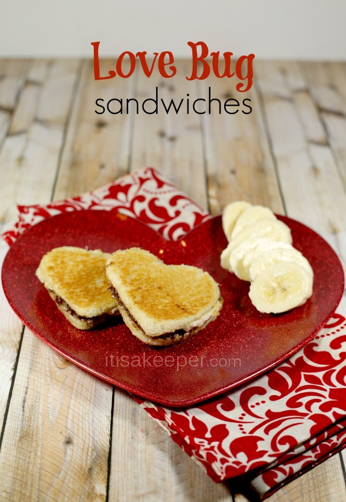 Valentine's Day lunch, heart shaped sandwiches