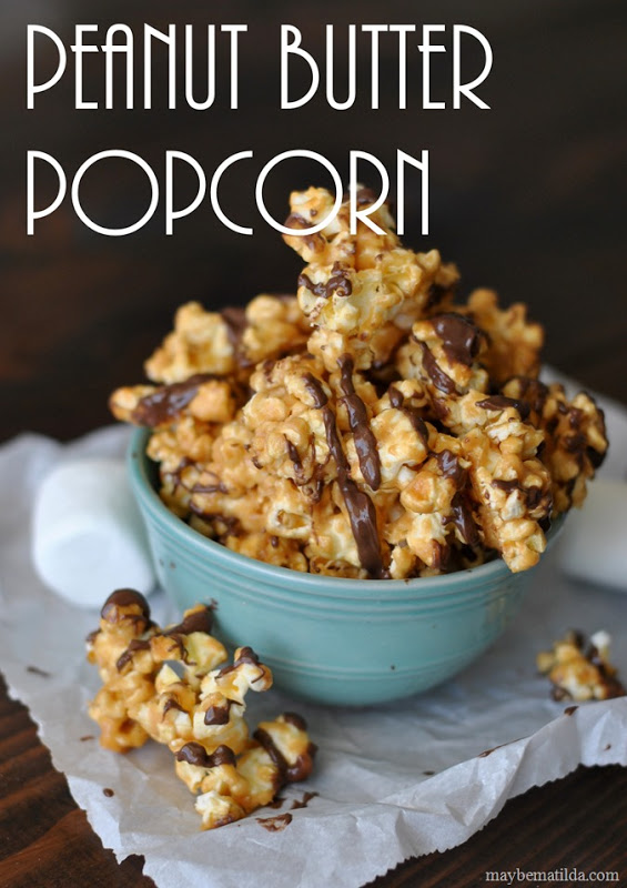 Movie Night Chocolate Drizzled Peanut Butter Popcorn #BigHero6MovieNight