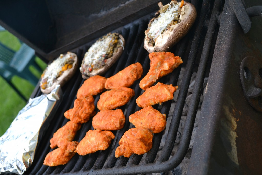 Grilled Hot Wings with Stuffed Portobello Mushrooms #SoFab