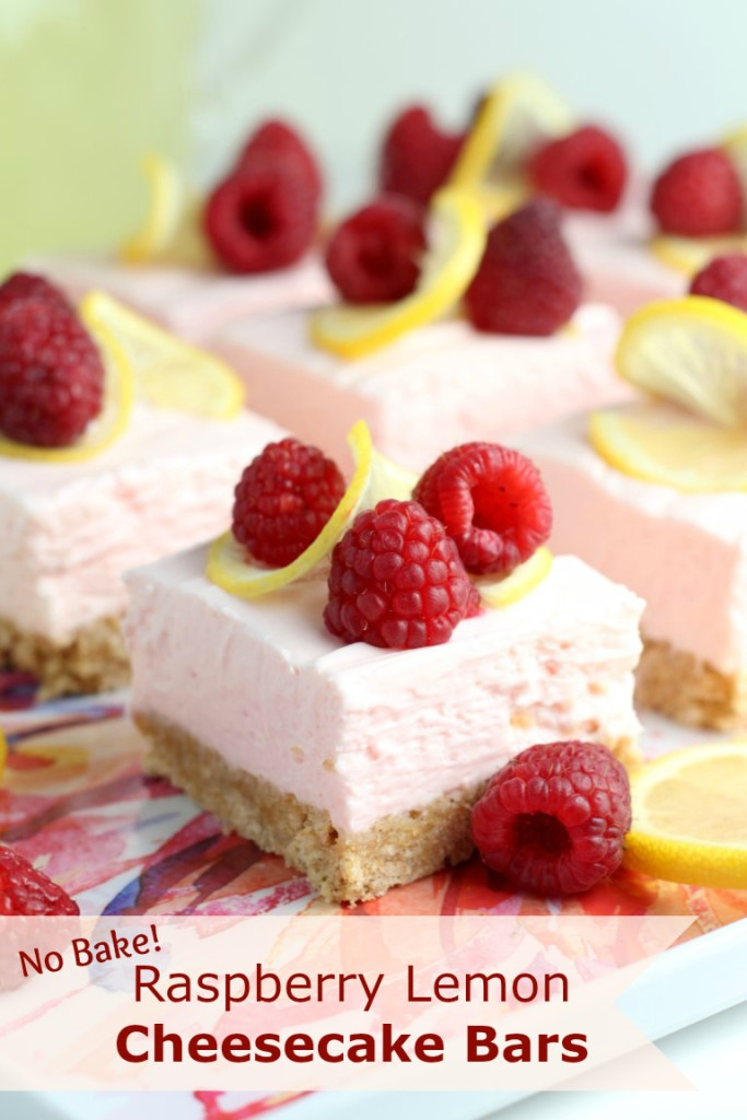 No Bake Raspberry Lemon Cheesecake Bars #PourMoreFun #SoFab #ad