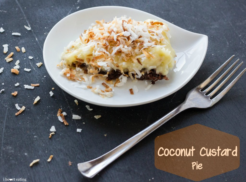 Coconut Custard Pie with Chocolate Coconut Crust