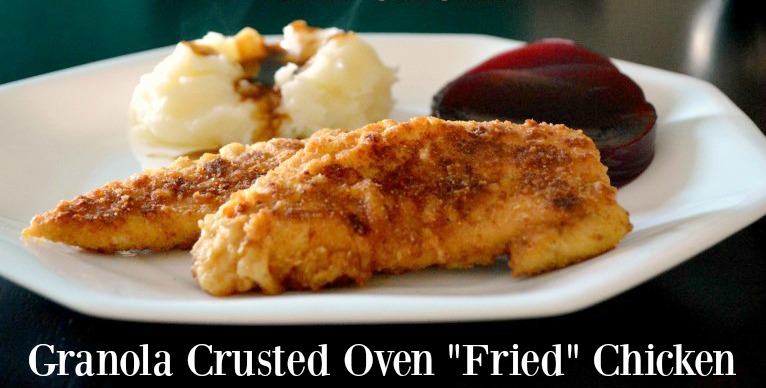 The Best Granola Crusted Oven Fried Chicken