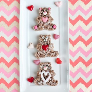 Chocolate Crispy Treat Valentine's Day Bears