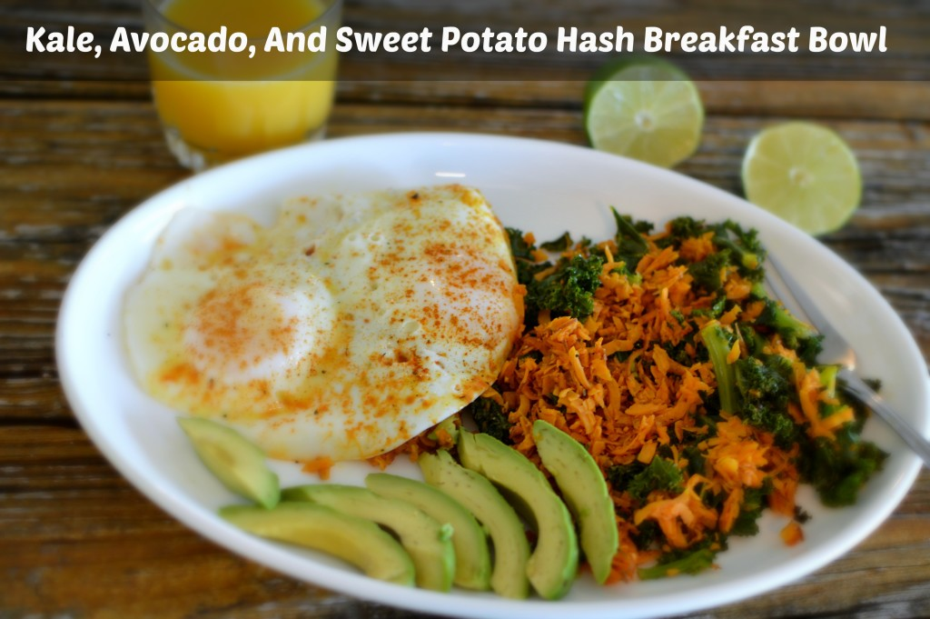Kale, Avocado, And Sweet Potato Hash Breakfast Bowl