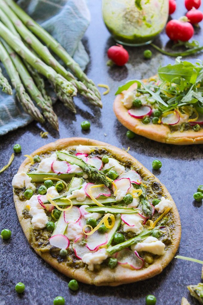Spring Vegetable Flatbread with Basil Pesto