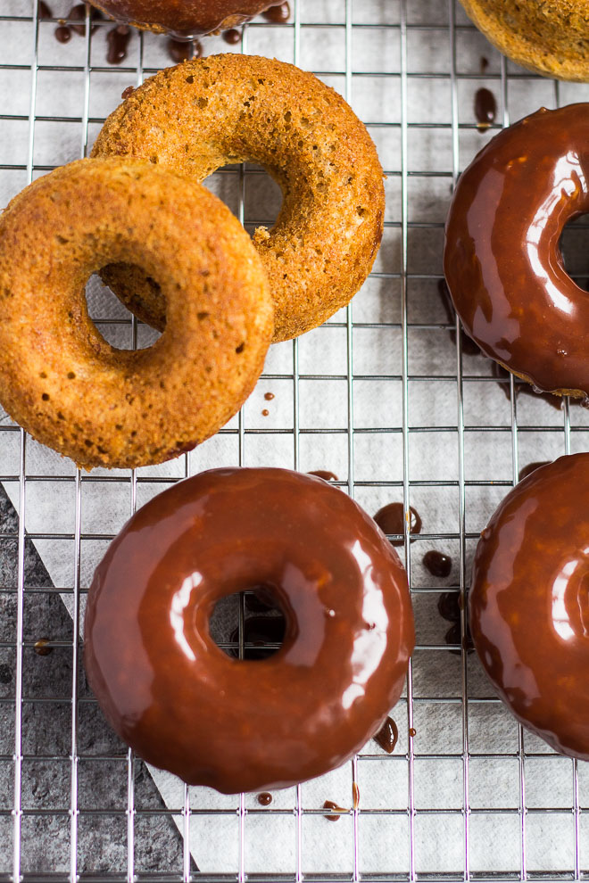 Baked Banana Bread Doughnuts with Milk Chocolate Glaze