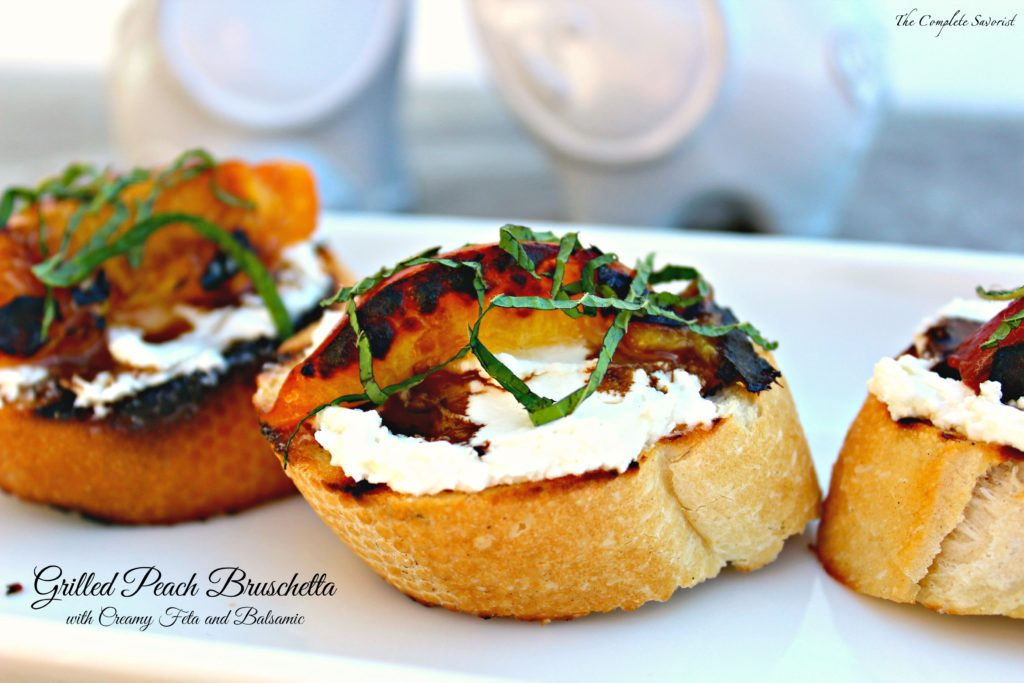 Grilled Peach Bruschetta with Creamy Feta and Balsamic ~ Luscious peaches and your favorite baguette grilled together with a creamy feta cheese spread between them, drizzled with balsamic reduction and fresh mint ~ The Complete Savorist #SoFabFood