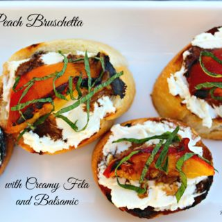 Grilled Peach Bruschetta with Creamy Feta and Balsamic