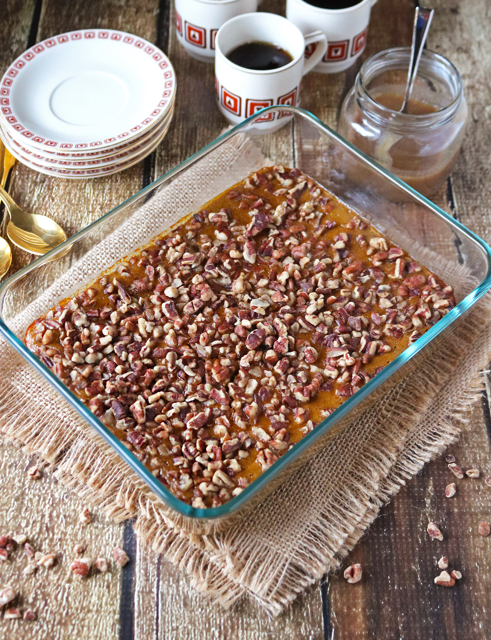 This Butternut Squash and Pecan Bake is simply delightful as a dessert or even breakfast! And, it happens to be dairy-free, gluten free and refined sugar-free!