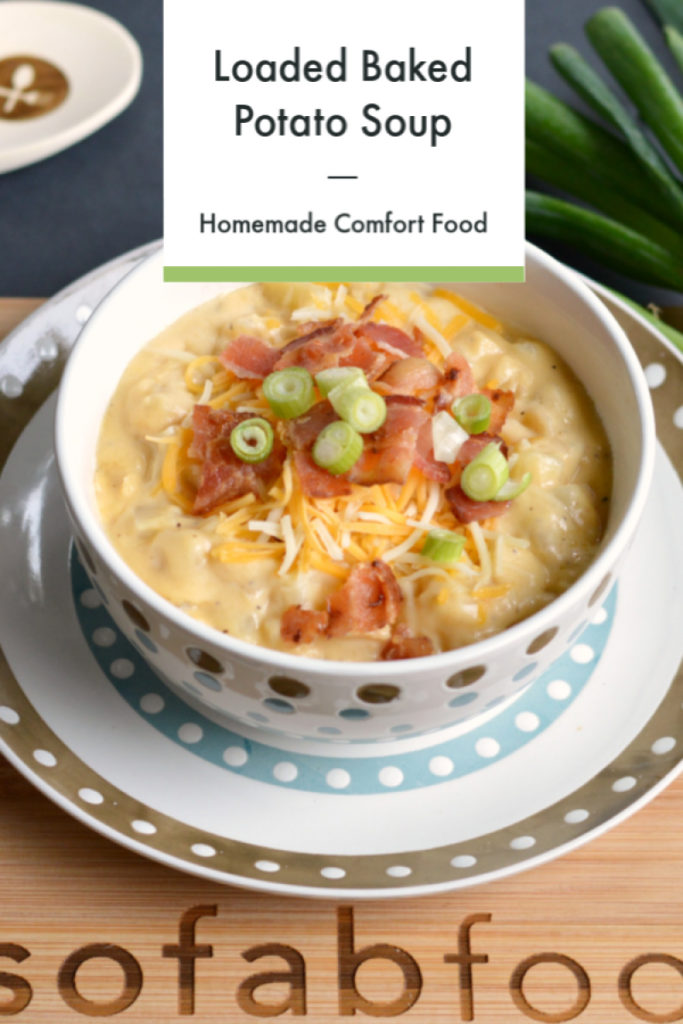 Loaded Baked Potato Soup is the perfect homemade comfort food on a chilly evening. This stove-top or slow cooker soup is loaded with potatoes, bacon, and cheese. Perfect for a weeknight dinner or hearty lunch.
