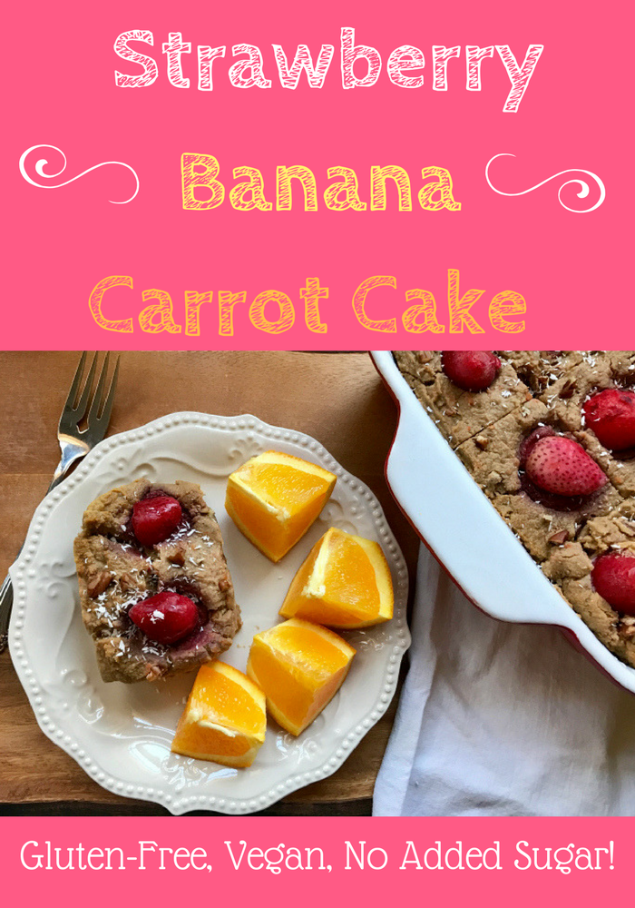 Vegan Strawberry Banana Carrot Cake is a naturally sweetened take on the traditional carrot cake without all the heavy cream cheese and sugar. This healthy, naturally sweet cake is also full of fiber, real food, and perfect for any breakfast or brunch!