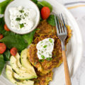 Smashed chickpeas zucchini fritters protein breakfast bowl
