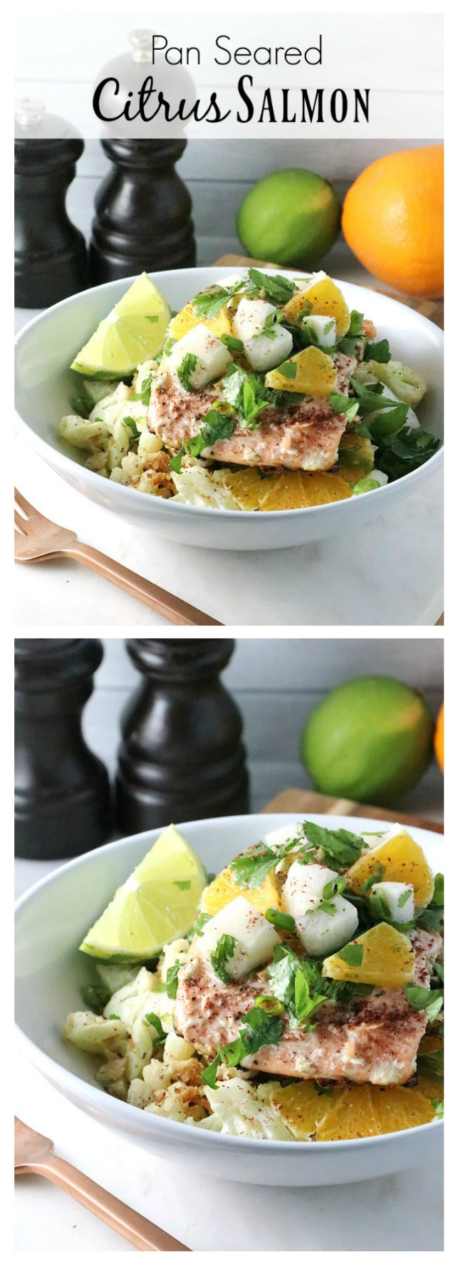 If you love effortless spring-inspired dishes, you need to try this recipe for Pan-Seared Citrus Salmon! Paired with cauliflower rice and seasoned with the fresh flavors of spring, this healthy dish is a must try.