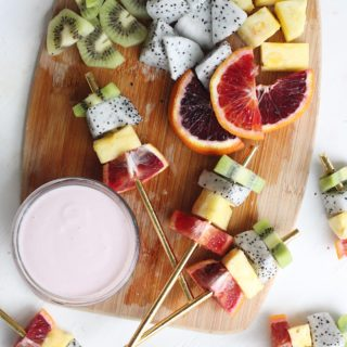 Farmers market fresh Exotic Fruit Kabobs paired with homemade Greek Yogurt Dip are the perfect healthy dessert or after-school snack. The dragon fruit and blood oranges are the stars of the show!