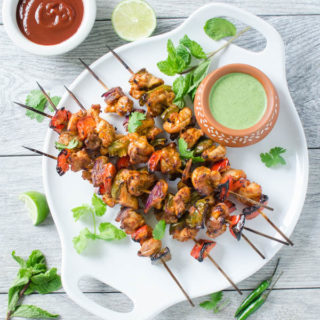 Smoky Grilled Chicken Tikka Kebabs