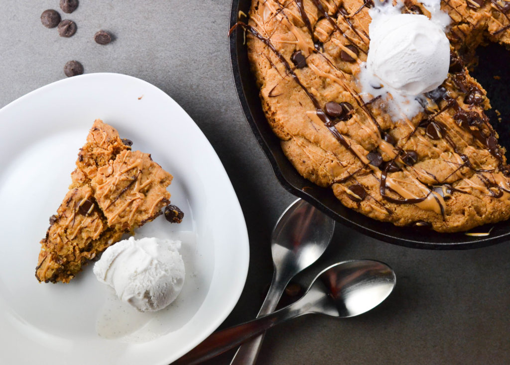 Peanut Butter Stuffed Chocolate Chip Cookie Skillet (GF, DF, V) - A Dash of Megnut