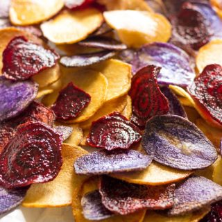 Crispy Beet Chips and Potato Chips