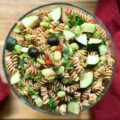 Whip up this Vegan Oil Free Greek Pasta Salad recipe full of Mediterranean flavors in just 30 minutes for a family-style meal everyone will rave about. Perfect for dinner, potlucks, or picnics!