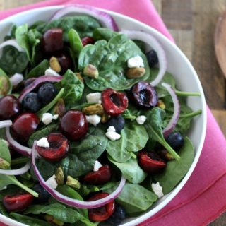 Cherry Goat Cheese Spinach Salad