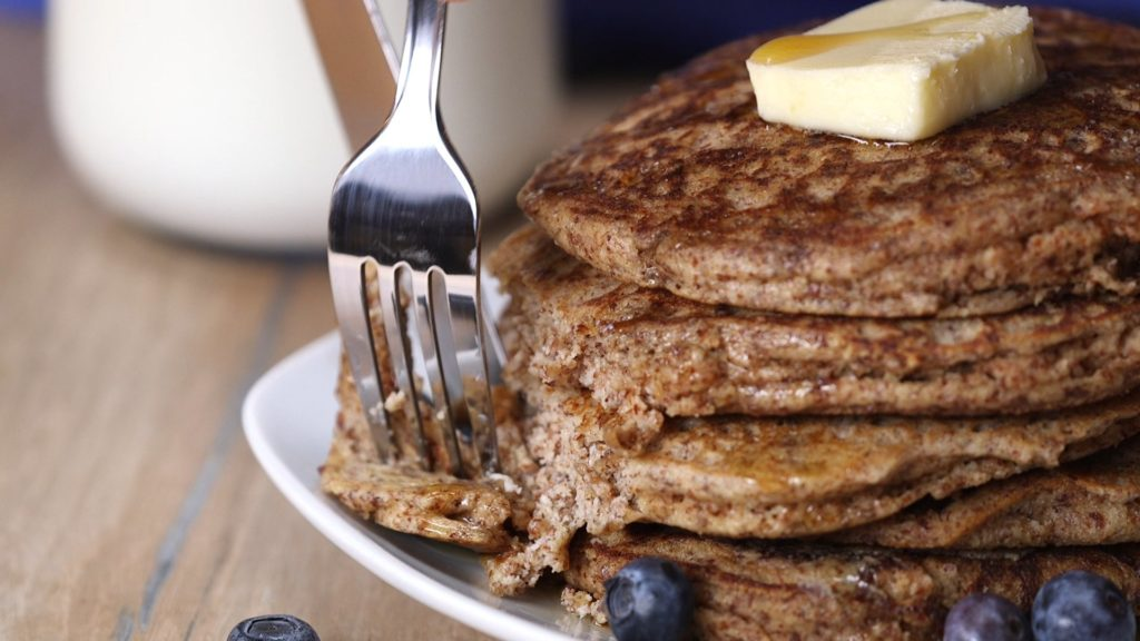 You will feel amazing when you start your day off with these Whole Grain Healthy Pancakes for breakfast. Enjoy ridiculously nutritious clean eating that is so good for you!