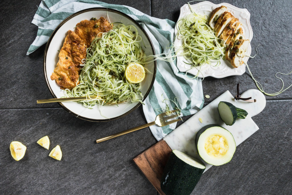 If you're watching your carb, processed foods, and fat intake, but you still desire satisfying dishes, look no further because this recipe for Air Fried Chicken Piccata with Zoodles is the only one you need!