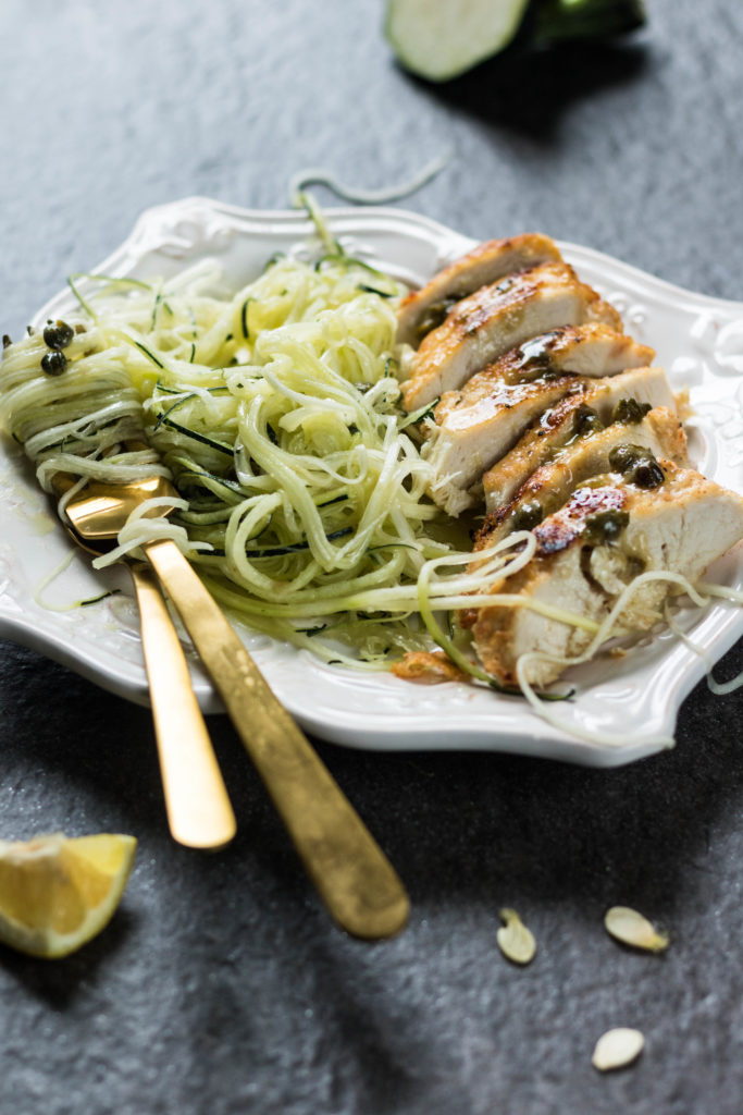 If you're watching your carb, processed foods, and fat intakes, but you still desire satisfying dishes, look no further because this recipe for Air-Fried Chicken Piccata with Zoodles is the only one you need!