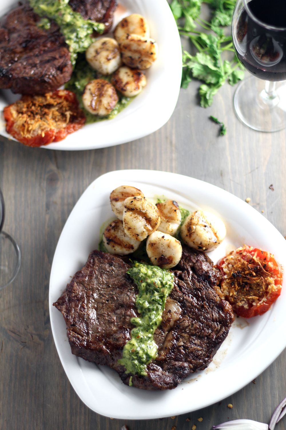 Date Night or Fate Night, Surf and Turf for Two is the recipe you must make for someone special. Extra touches? Wine, candlelight and Cilantro Chimichurri.
