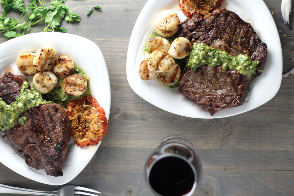 No matter the occasion, this Surf and Turf for Two is the recipe you must make for your someone special. How can you go wrong with Grilled Steak, scallops, wine, candlelight, and a bright and spicy Cilantro Chimichurri?