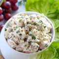 This Reduced-Calorie Chicken Salad recipe is filled with grapes and celery and tossed in lower-calorie dressing. Serve this healthier classic with lettuce, crackers, or bread for a hearty and nutritious meal.