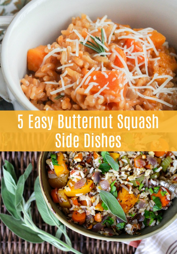These five easy Butternut Squash Side Dishes will have you running to your local farmers market for fresh ingredients. All five of these sides pair perfectly with a variety of proteins and they're exactly what you need for the perfect fall meal!