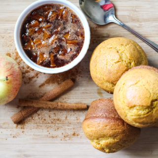 Pumpkin Caramel Apple Muffins