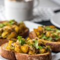 Start your day off the right way with this Roasted Potato Cheesy Garlic Toast! Not only is this a hearty breakfast, but it can also be ready very quickly, especially if you plan ahead and prepare the roasted potatoes the night before.