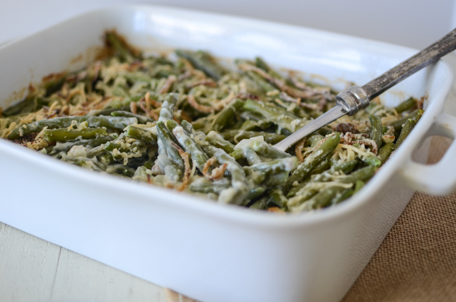 This Lighter Green Bean Casserole recipe delivers all of the comforting flavors of your favorite holiday side without all of the canned additives. Swapping two canned ingredients for homemade lightens up the dish so you can enjoy more of it!