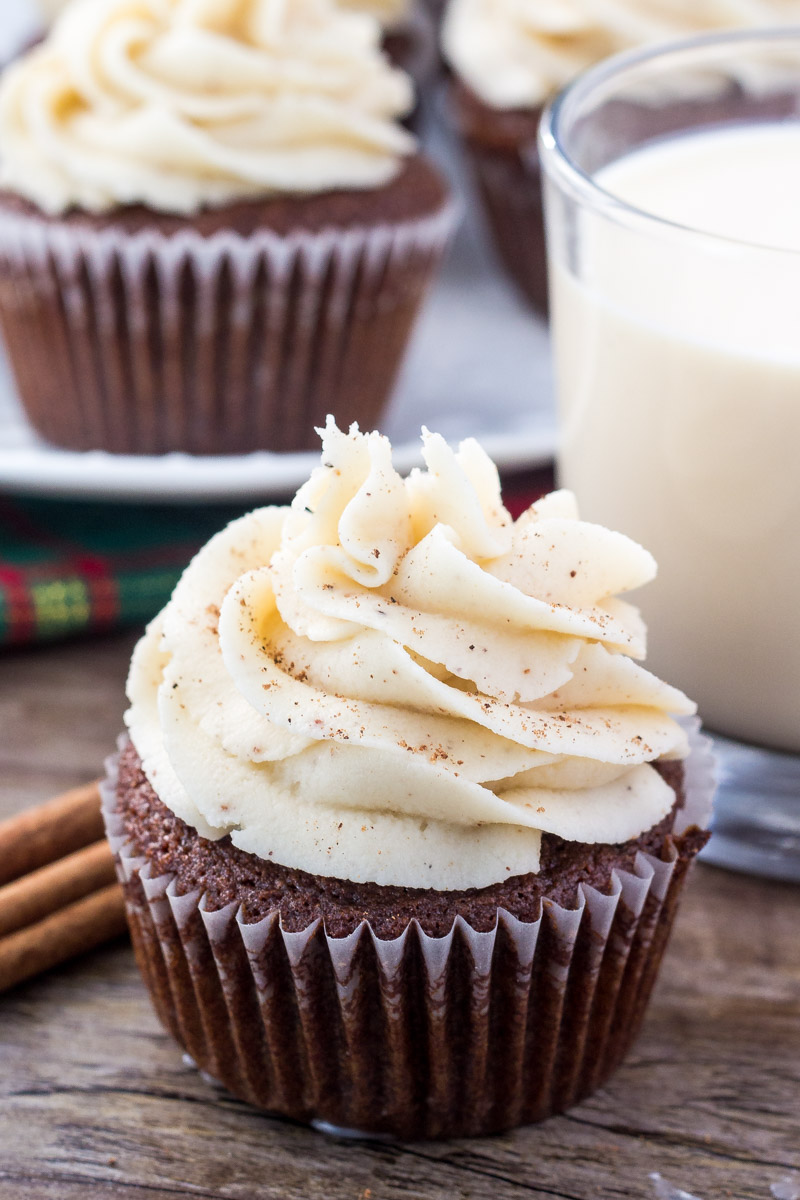 Gingerbread Cupcakes + Eggnog Frosting