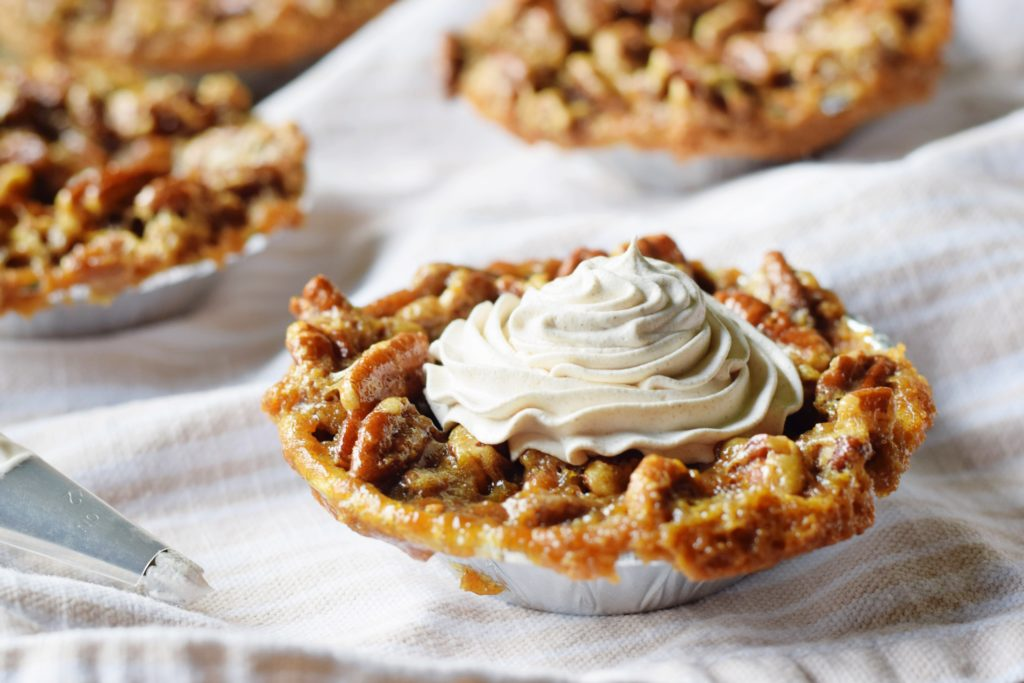 Mini Pecan Pies with Pumpkin Spice Whipped Topping