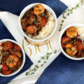 Cook to impress when you make this Insanely Delicious Shrimp Sausage Gumbo rice bowl. This hearty comfort food gets its New Orlean's style flavor from smoky sausage, shrimp, herbs, and fresh vegetables.
