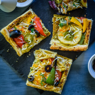 Roasted Vegetable Puff Pastry Pizza
