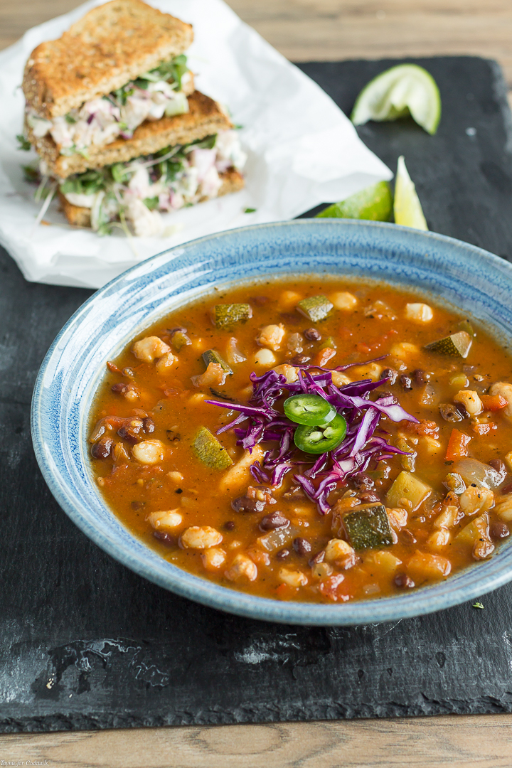 Free yourself of the pricy sandwich shop when you make this deli-style meal at home instead. This 30-minute Tex-Mex Vegetable Soup paired with a Chipotle Chicken Salad Sandwich is a cheap healthy meal you can enjoy for lunch or dinner.