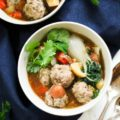 This Paleo Slow Cooker Wonton Meatball Stew is a simple comfort food that's perfect for a weeknight meal. This one-pot meal is full of homemade meatballs, vegetables, and amazing Asian flavors!