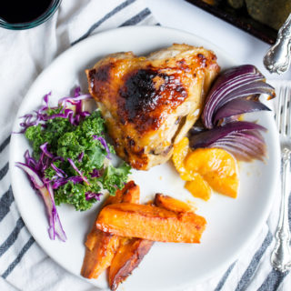 Baked Apricot Chicken + Sweet Potatoes