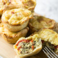 Sunday Brunch needs Red Pepper Sausage Mini Quiches! 5-ingredient recipe for small bites fancy enough for brunch, practical enough for on-the-go breakfast.