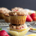 A wholesome breakfast, these Banana Strawberry Wheat Muffins are packed with good-for-you ingredients. Perfect for an on-the-go breakfast, Sunday brunch, or even as a decadent dessert!