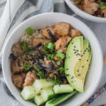 This Teriyaki Chicken Rice Bowl is the perfect weeknight dinner. A cheap healthy meal that uses chicken thighs, rice, and a host of flavorful spices. Topped with avocado and cucumber, this dish is reminiscent of sushi in a bowl. To make this a 30-minute meal, you need to read the secret home chef tip!