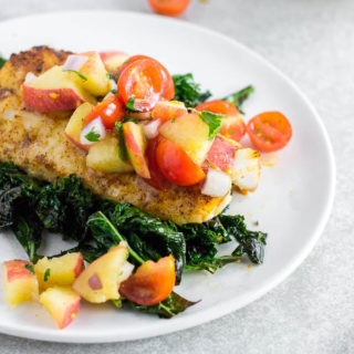 Baked Cod with Peach Tomato Salsa