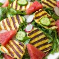 This Grilled Halloumi Salad with watermelon and arugula is a delightful spring/summer salad ready in 15 minutes. Easy enough for a weeknight meal, but impressive enough for outdoor entertaining.