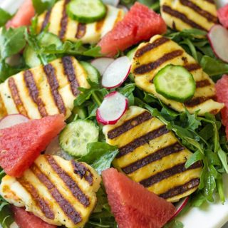 Grilled Halloumi Salad with Watermelon