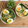 These Easy Ramen Bowls are a 15-minute meal with a savory broth made with sesame oil and low sodium soy sauce and topped with soft boiled eggs. With 5 core ingredients, there are plenty of options to further customize this dinner for two.