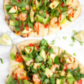 A farmers market delight, this Grilled Asian Shrimp Naan Pizza is a fresh 30-minute meal that doubles as a simple party appetizer. Take outdoor grilling to a new level of freshness with this simple recipe!