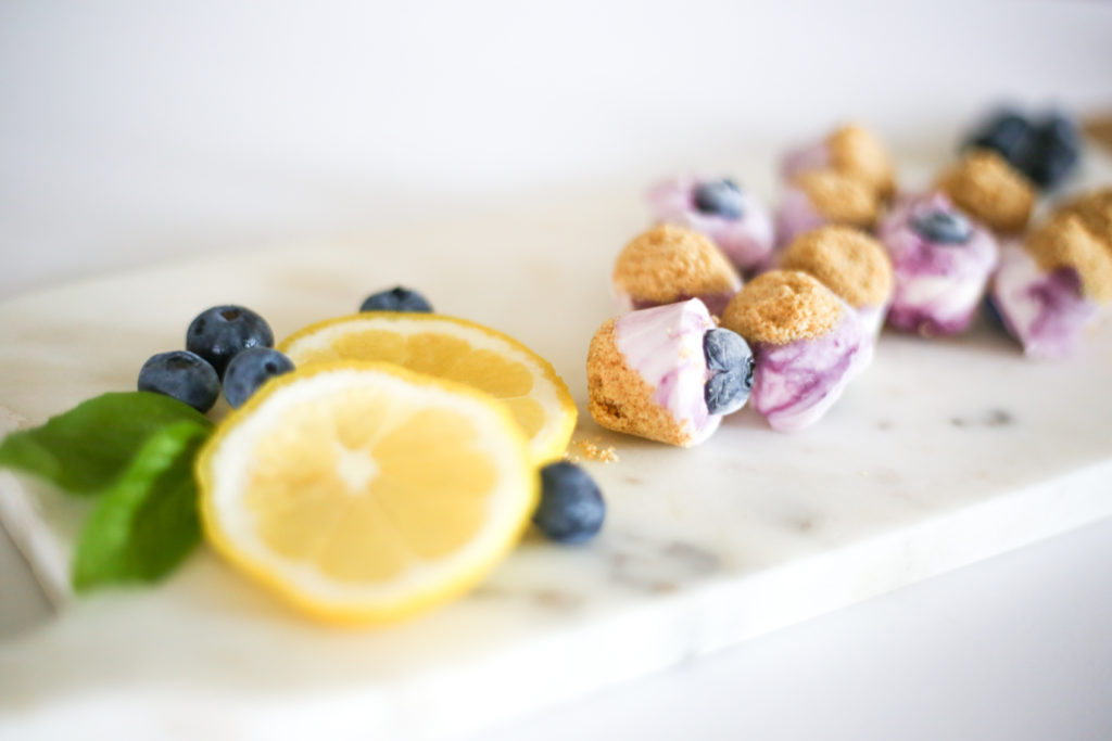 Blueberry Lemon Cheesecake Bites are a simple no-bake dessert using farmers market ingredients. With just 10 minutes of prep time, this is a great summer dessert for snacking or entertaining. This poppable snack is kid friendly too!