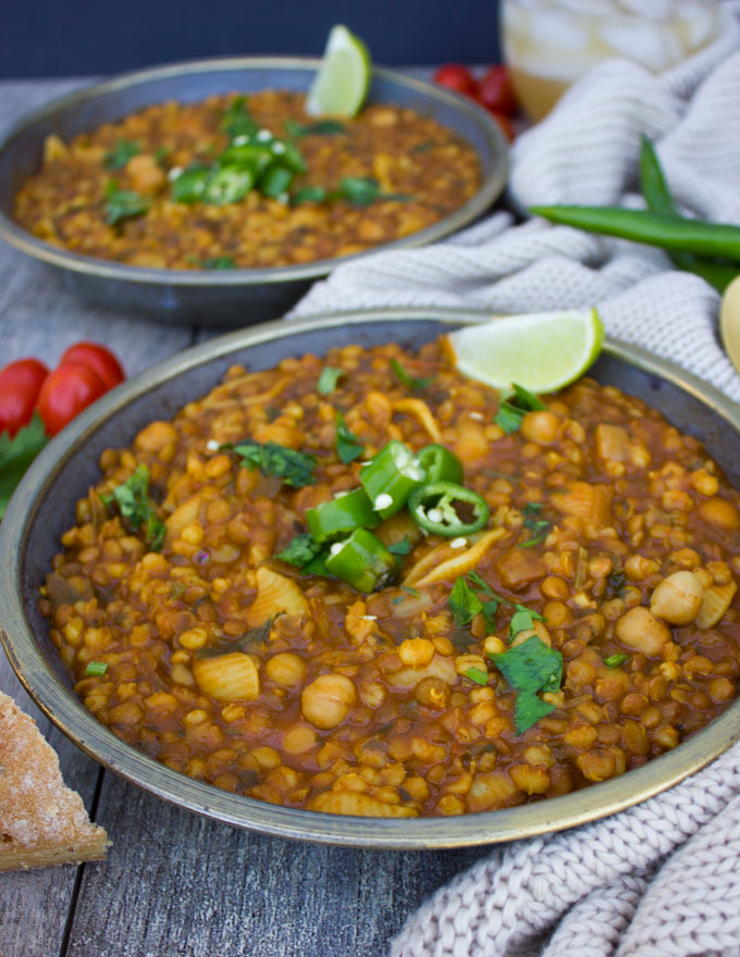 Moroccan Harira Chickpea Lentil Soup is simple international cuisine that will impress dinner guests. This cheap healthy meal is vegetarian comfort food at its finest.